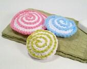 3 Sweet Crocheted Scrubbies: 2 kitchen scrubbies; 1 bath scrubby. Yummy looking clean up treats.