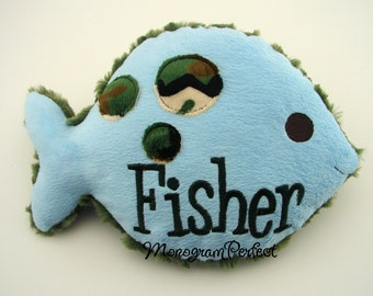Personalized Light Baby Blue Plush & Camo Fish Pillow, Soft Toy