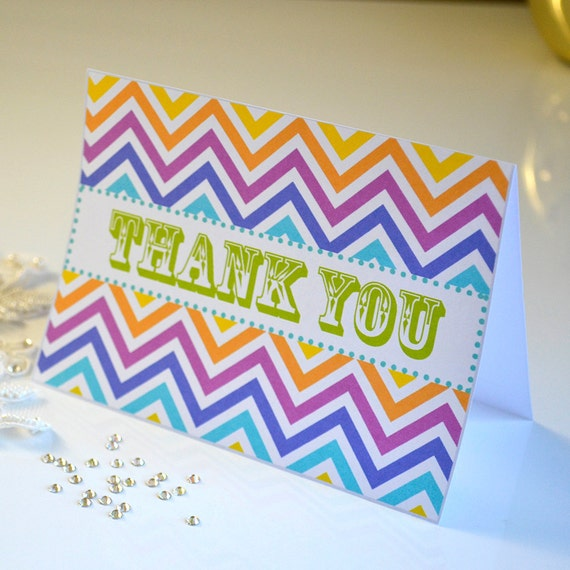 Printable Thank You Card, Rainbow Chevron, Instant Download Printable Card, Thank You Notes, Blank Card, Note Card, Chevron Note Card
