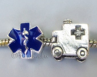Ambulance And Blue Star Of Life European Charm Bead Set For Large Hole Charm Bracelets - Gift For EMTs, Paramedics, Doctors, Nurses