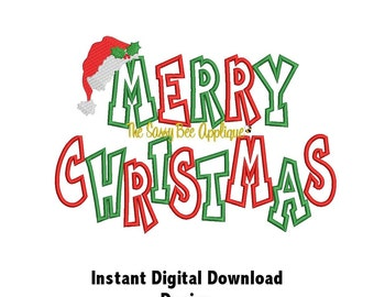 DD MERRY CHRISTMAS Chunkie Applique With Santa Hat - Machine Embroidery Design - 2 Sizes - 2 Designs - Instant Download