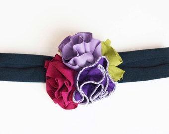 Purple Punch Jersey Knit Flower Trio Headband - Fall headband