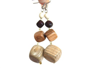 Earrings Cube Pendants.  Organic wooden Earrings. Handmade wooden jewelry.