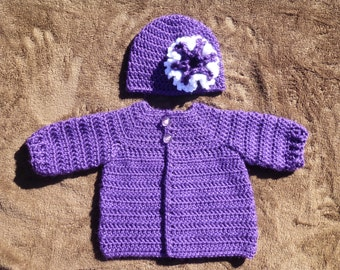 0 to 3 Months Sweater and Hat Set