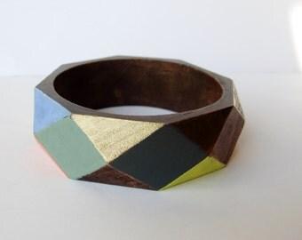 Geometric Dark Wood Multi Colour Bangle
