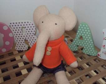 Personalized Elephant with Sweater and Shorts made from 100% Italian Wool
