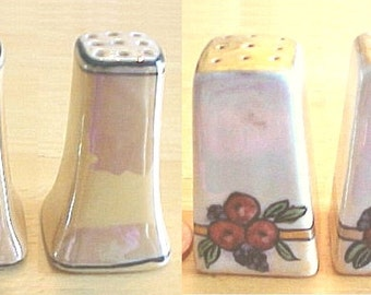 Tiny Luster Salt & Pepper Shakers - Individual Porcelain Shakers - Hand Painted Lusterware - Stickpin Holders - Vintage Japan - 2 sets