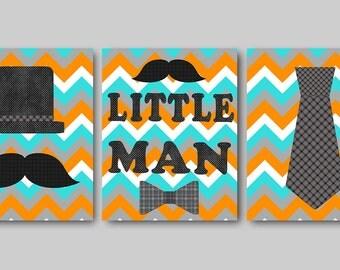 Little Man Kids Wall Art Baby Boy Nursery Art Decor Children Art Print Baby Nursery Print Nursery Print Boy Art set of 3 Orange Gray