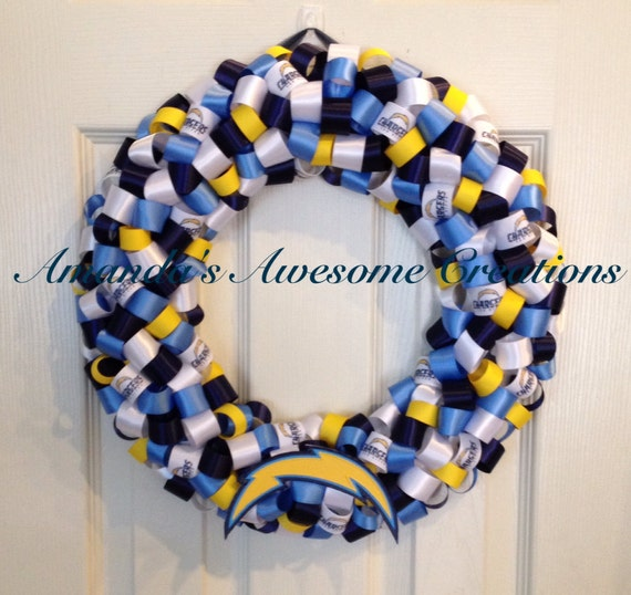 San Diego Chargers Gifts: San Diego Chargers Football Ribbon Wreath