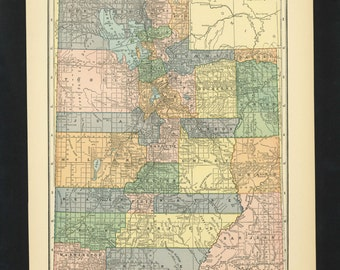 Vintage Map Utah From 1926 Original