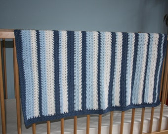 Blue and White Striped Crochet Baby Blanket