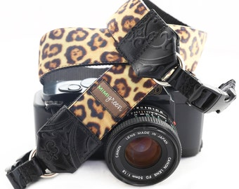 The Susie Leopard Velvet Camera Strap with Quick Release Buckles -- 1.5 inches wide