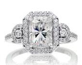 14 Karat White Gold Three Stone 8x6 Emerald Cut White Topaz Halo Diamond Engagement Anniversary Gemstone Ring