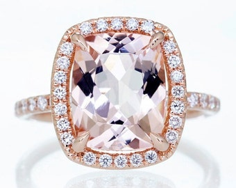 18K Rose Gold 10x8 Cushion Cut Diamond Halo Engagement Anniversary Gemstone Morganite Ring
