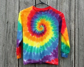 Toddler Rainbow Tie Dye Shirt, Toddler Sizes 2T 3T 4T,  Hippie Kids, Long Sleeve Tshirt