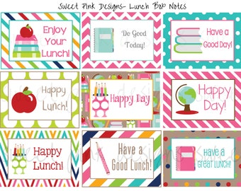 Lunch Box Notes- School Supplies Pink
