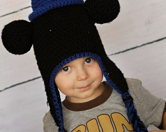Crocheted Sorcerer Mickey Mouse Earflap Hat