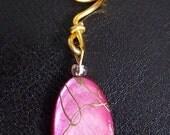 Locs jewelry strawberry and gold stripes stone