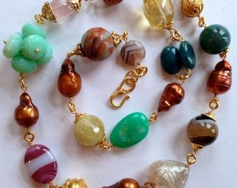 Multigemstone Statement Necklace, Chrysoprase, Rose Quartz, Aquamarine, Whiskey Quartz, Opal, Baroque Pearls, Vermeil Bali Beads and Caps