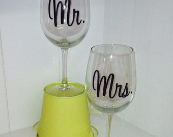 Mr. & Mrs. Vinyl decals for wine glasses and more-wedding