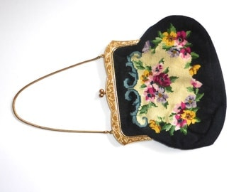 Fabulous Vintage 1960's Gold Framed Needlepoint Floral Purse with Kiss Clasp