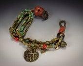 Turquoise Bracelet, Tribal Assemblage Bohemian