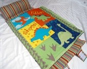 "Nap Mats Preschool Toddler Kindergarten Daycare Blanket Pillow Cover Plush Navy Minky Dinosaurs Kindermat Bedding Boys Kids 20"" x 49"""