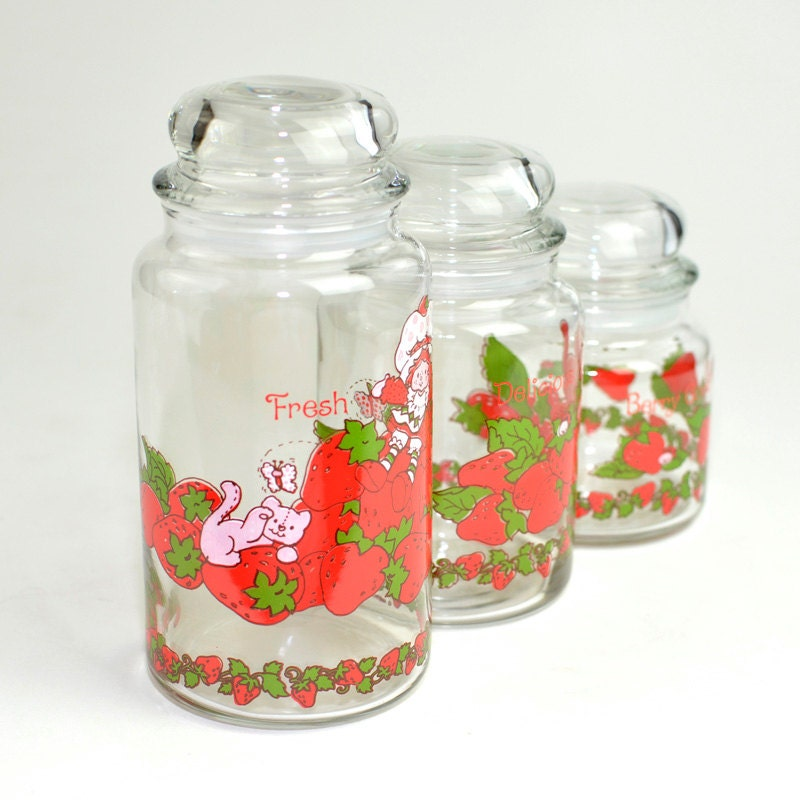 Strawberry Shortcake Glass Canister Set 3 Small Medium
