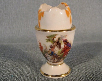 Vintage Miniature Limoges Egg Cup with Romantic Scene