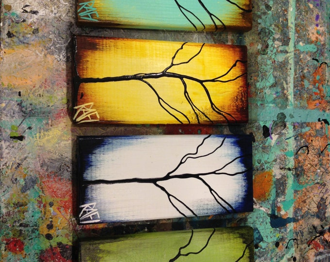 Featured listing image: Four Seasons - 4 Piece -  Tree Paintings on Reclaimed Wood By Artist Rafi Perez