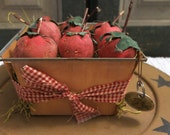 Primitive  Country  Grungy Strawberries and Vintage Berry Basket Shelf sitter ornie tucks