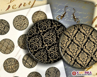 DAMASK PATTERNS 2 inch Digital Collage Sheet Printable Decoupage Circles for Pendant Pocket Mirrors, Earrings, Paper Weight