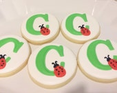 Lady bug monogram cookies