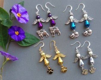 ANGEL EARRINGS- In Memory of Beloved Pet-Purple Blue Silver Gold-Aurora Borealis Beads-Angel Wings-Choice of Pet Charm