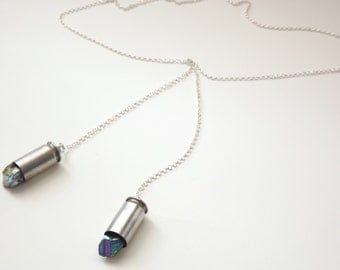 Bullet necklace bullet lariat bullet jewelry rainbow titanium crystal necklace silver bullet lariat bohemian necklace tribal necklace