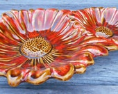 Mid century California pottery chip and dip bowl serving bowls trinket dishes, mod orange and gold daisy flowers with drip glaze, 1960's era