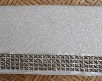 Walborg vintage beaded clutch purse evening bag, Hand Made in Hong Kong, white leather, seed & bugle beads, mid century, 1950's-'60's