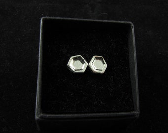 Honeycomb                                                                     - silver honeycomb stud earrings