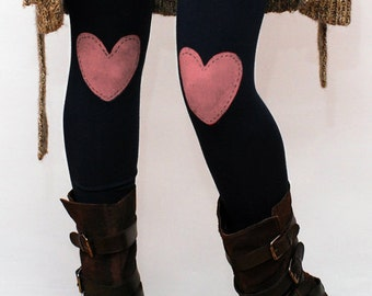 Pink heart hand PAINTED leggings, tights in black