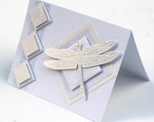 Cloisonne Dragonfly card, Monochromatic White blank card, elegant dragon fly greeting card, birthday card