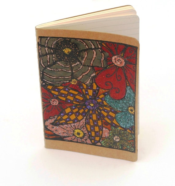 Abstract flowers mini notebook, altered Floral Journal Embossed Notebook Colored Kraft Moleskine, gift for her