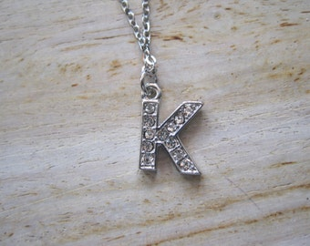 """Silver  """"K"""" Necklace -Initials Necklace - Initials - Word Jewelry - Letter Jewelry"""