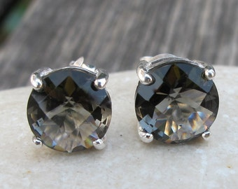 Topaz Studs-Topaz Earrings-Quartz Studs-Stone Post Earrings-Gemstone Studs-Stone Earrings-Silver Stud Earrings-Blue Stone Studs
