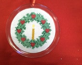 Christmas Wreath with Candle Ornament