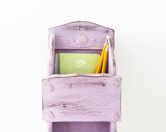 Hanging Mail Holder - Soft Purple - Flea Market Chic Decor