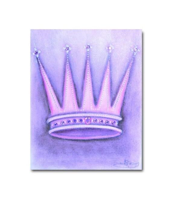 Items similar to Princess Purple Crown Nursery Art, Baby ...