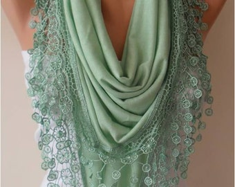 Christmas Holiday Gift Gifts For Her Gifts For Women Light Green Cotton Scarf with Lace Edge Triangular Scarf Winter Scarf Fashion Scarf