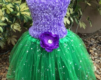 Little Mermaid Dress, Little Mermaid Costume, Little Mermaid Tutu, Fairy Costume, Princess Costume, Little Mermaid Party Favors, Green Tutu