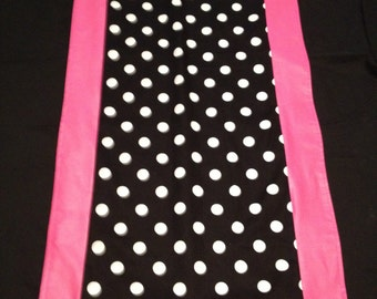 "Minnie Mouse Any Color Trim Runner 14"" X 72"" Black with White Polka Dot with Pink Trim Any Color Just Ask"