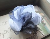 Black and Gray Organza Flower Brooch/ Sash Flowers / Floral headpiece / Hair fascinator / Hair Clips